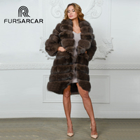 FURSARCAR Real Natural Fox Fur Long Coat Women Genuine Leather Fur Female Jacket Winter Sable Color Thick Peach Collar Fur