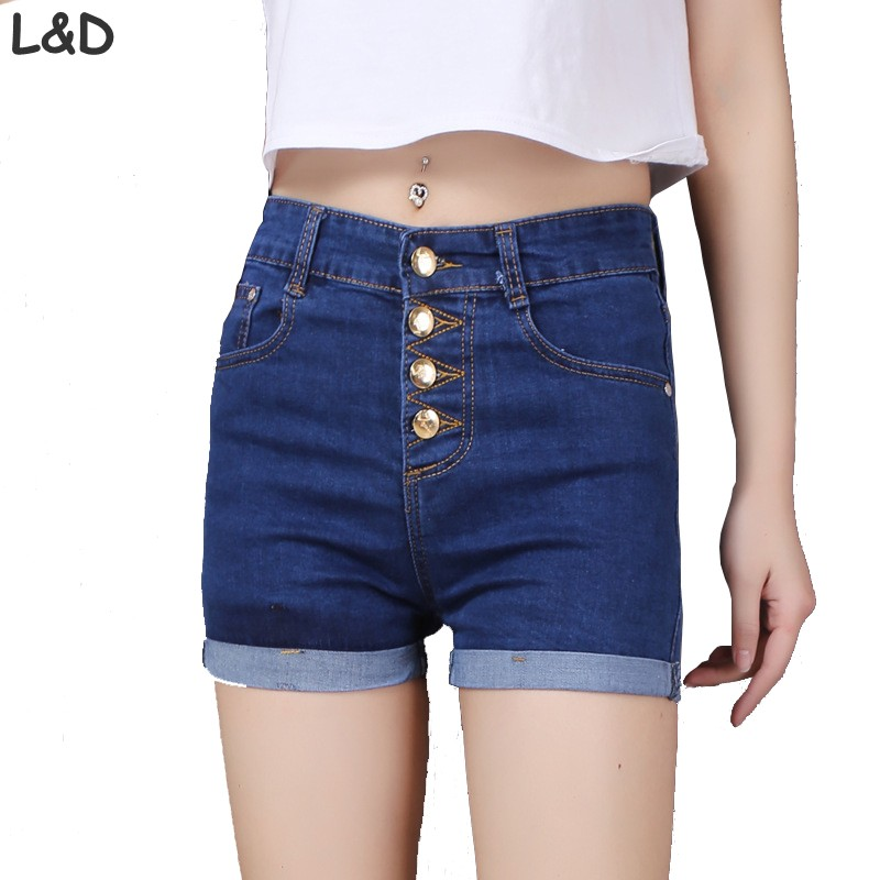 2018 Fashion 4 Tasten Retro Elastische Hohe Taille Shorts Feminino Denim Shorts Für Frauen Lose Plus Größe Blue Jeans Kurze