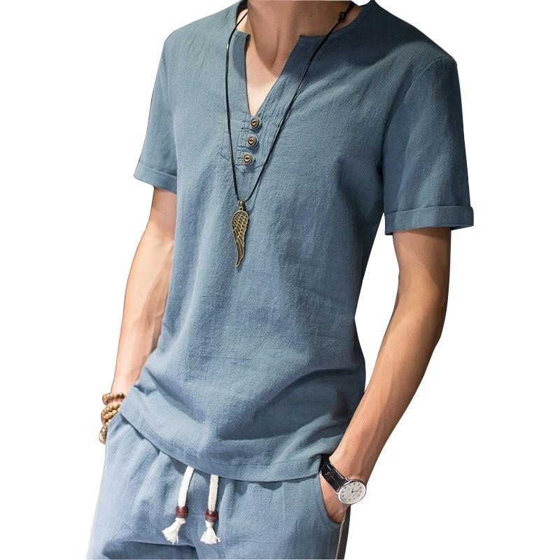 Men's Pajamas Short Sleeve Cotton Linen Pyjamas Slim Fit Men's Sleep Lounge Pajama Set Trousers M-5XL