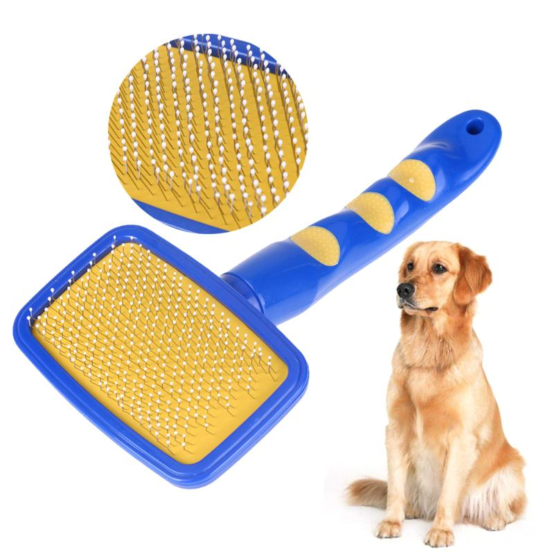 <font><b>Dogs</b></font> <font><b>Hair</b></font> <font><b>Removal</b></font> <font><b>Tool</b></font> <font><b>Quick</b></font> <font><b>Cleaning</b></font> <font><b>Brush</b></font> <font><b>Pet</b></font> Cat Puppy Massage Combs Grooming <font><b>Hair</b></font> <font><b>Brush</b></font> Blue ABS + Stainless steel
