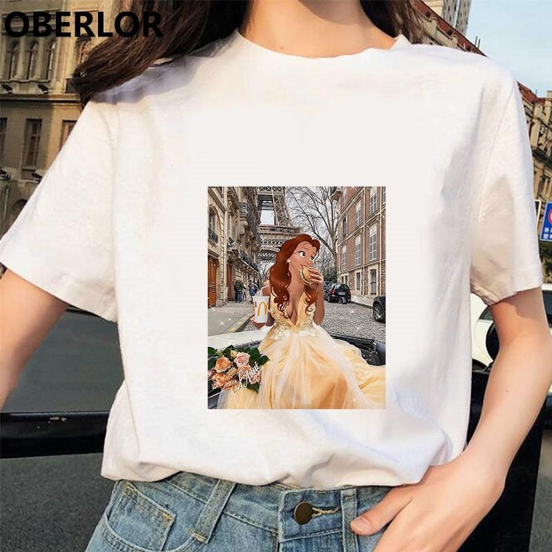 Camisetas Verano Mujer 2019 Funny Belle Loves Hamburger&Cola T Shirt Women Harajuku Streetwear Printed TShirt Gothic Cotton Tops