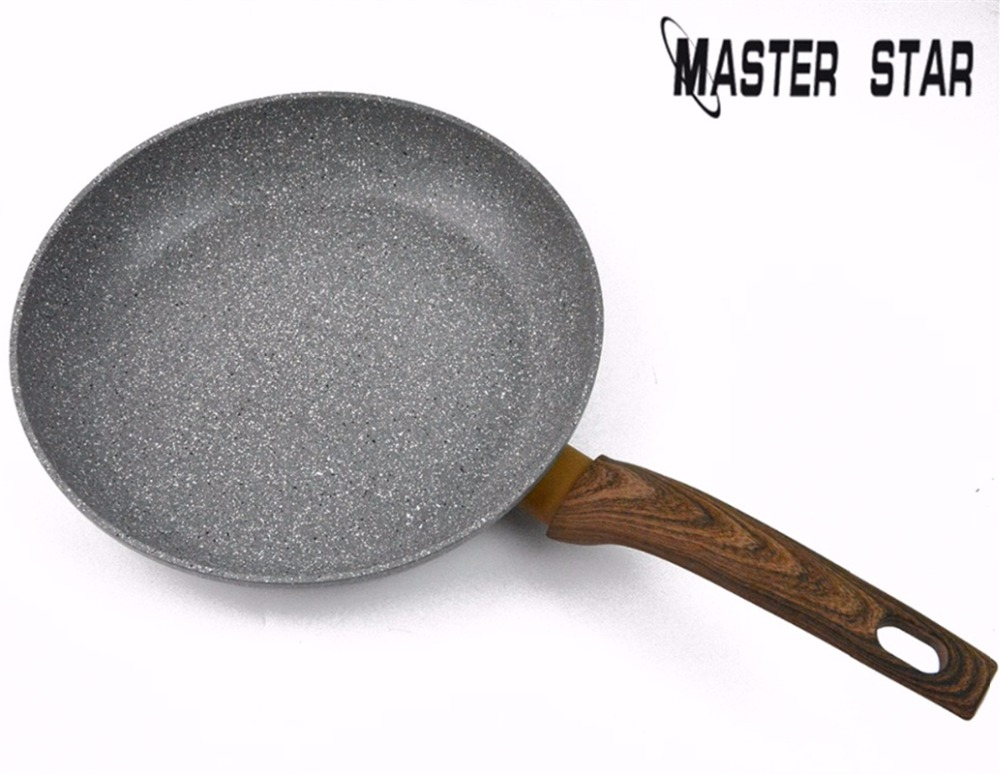 Master Star CHINESE MEDICAL STONE Non-stick Granite Frying Pan Pancake Induction Cooker Aluminum Skillet Pans Cooking Utensils