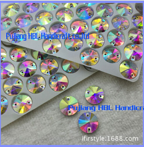 8mm 12mm 14mm 16mm Beyaz AB Yuvarlak Flatback Alt Kristal Cam Dikiş On Rhinestones Gelinlik çanta kristal taşlar