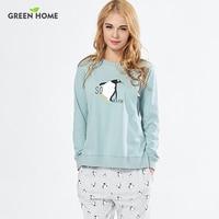 Yeşil Ev Penguen Gebelik Hamile Kadınlar için Pijama Set Giysi Pamuk Yumuşak Pijama Emziren Hemşirelik Ev Giysileri