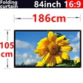 84 Inch 16:9  White PVC soft curtain  Wall Mount Projector Screens For  all Portable mobile projectors HD  home theater Screen