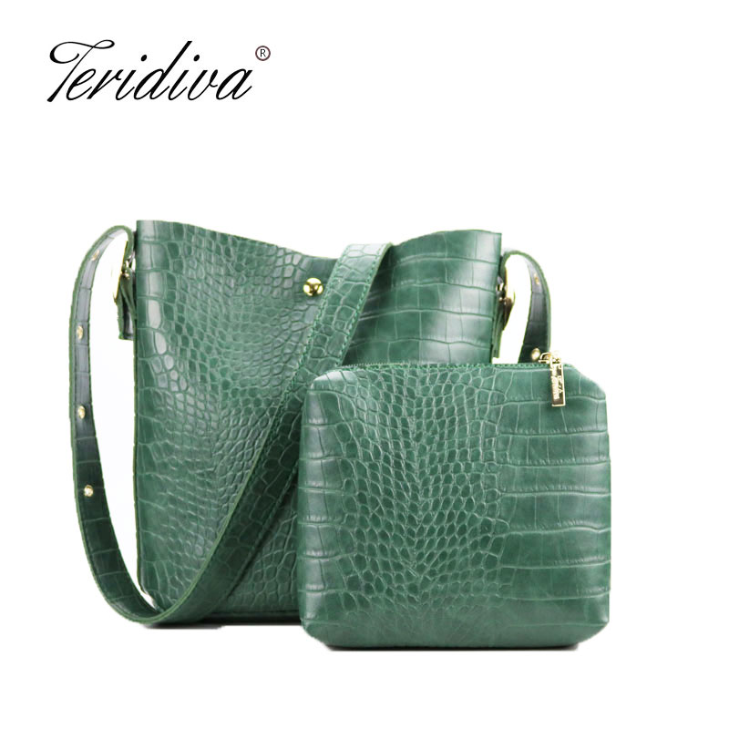 Teridiva New Small Bucket Handbag Women Crocodile Shoulder Bags Composite Bag Women Pu Leather Handbags Vintage Alligator Bags yuanyu new 2017 new hot free shipping crocodile women handbag single shoulder bag thailand crocodile leather bag shell package