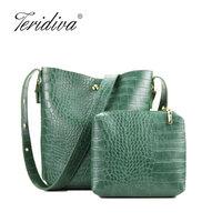 Teridiva Composite Bags Famous Designer Brand Bags Women PU Leather Handbags Bucket Shoulder Bag Vintage Crossbody