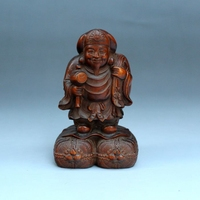 Antique boxwood wood carving God of wealth wood carving