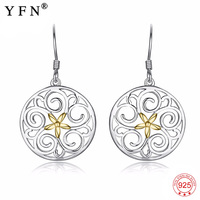 100% Real 925 Sterling Silver Earring Sweet Filigree Hollow Drop Earrings Charming Fashion 925 Silver Jewelry For Women PYE0028