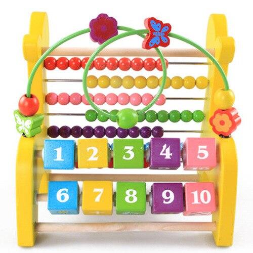 Jouets éducatifs multifonctionnels pour enfants animaux autour du rabat de perles support informatique en bois arithmétique jouets d'apprentissage précoce - 3