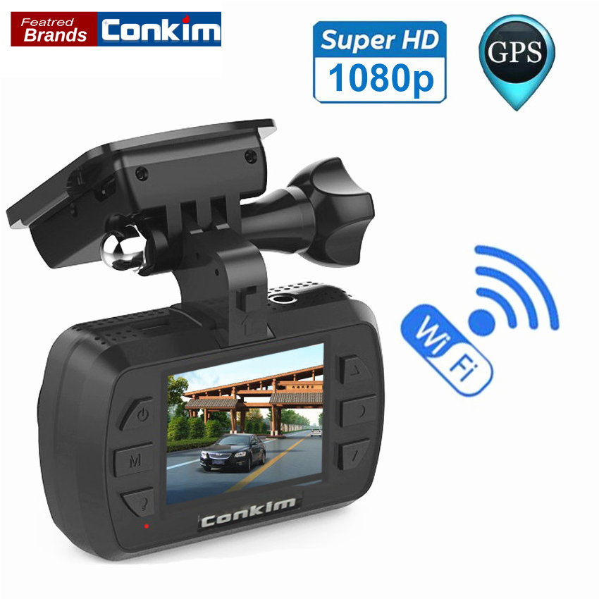 Conkim Wifi Car DVR Digital Video Recorder Novatek96655 1.5 Dash Camera GPS DVR 1080P Full HD H.264 WDR G-Sensor Parking Sensor junsun wifi car dvr camera novatek 96655 imx 322 full hd 1080p dashcam video recorder for old audi a1 a3 a4 a5 a6 a7 q3 q5 q7