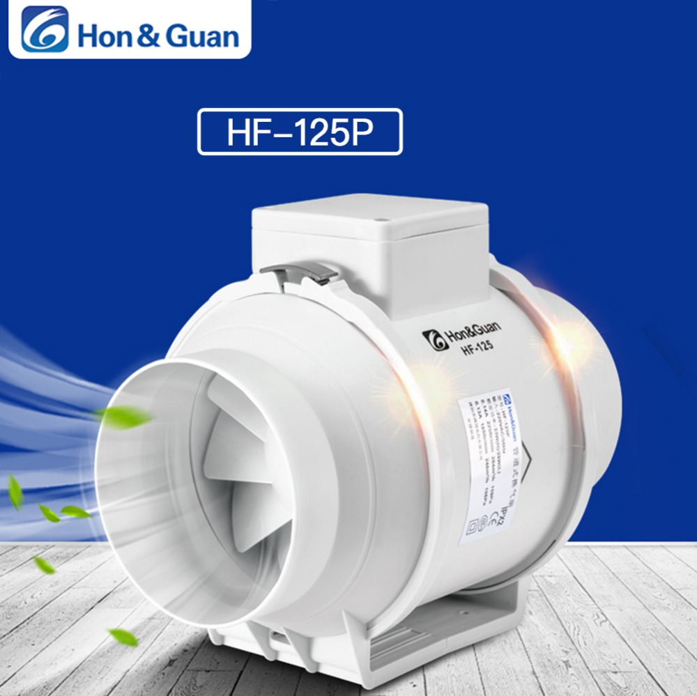 Hon&Guan 5 Inch Silent Inline Duct Fan Exhaust Fan Hydroponic Air Blower for Home Bathroom Vent and Grow Room Ventilation