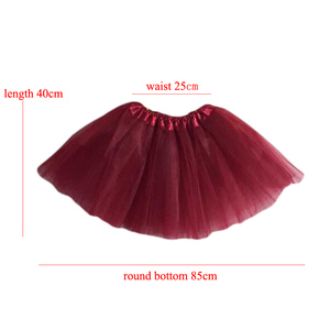 Image 2 - 15Inch Length Classic Womens Tulle Skirts Elastic Tutu Skirts Solid Color High Waist Sweet Toddlers Ballet Skirt Blue Pink Rose