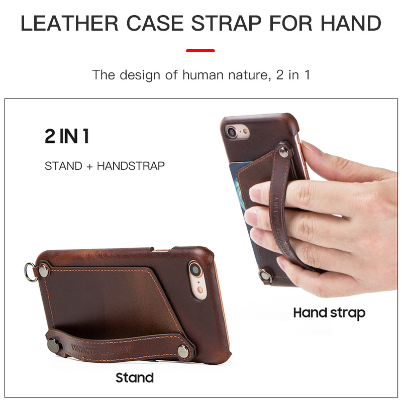 Image 4 - Crazy Horse Retro Genuine Leather Case For iPhone 7 8 iPhone Case  Card Slot Pouch Back Cover For Apple iPhone 7 8 Phone Bag CaseWallet  Cases