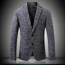 Gray Blazer for Men 2019 New Two Buttons Party Costume Famouse Designer Wedding Blazers Groom Casual Woolen Outerwear S-4XL 6201