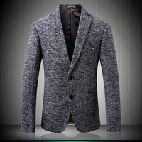 Gray Blazer for Men 2018 New Two Buttons Party Costume Famouse Designer Wedding Blazers Groom Casual Woolen Outerwear S 4XL 6201