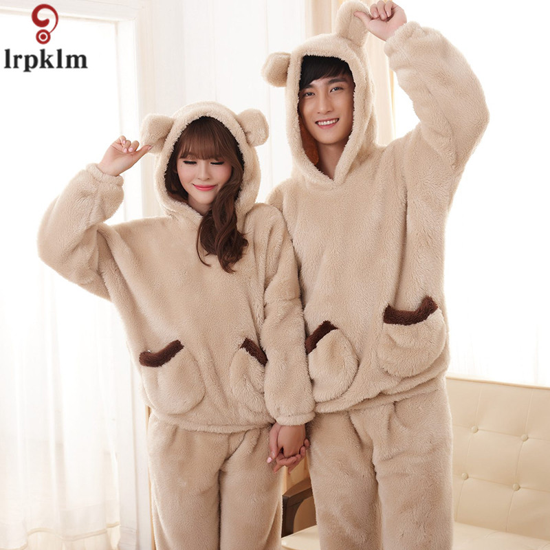 Winter Coral Cashmere Mens Pajamas 2017 New Couples Pajamas Thicken Men And Women Cute Hat Pajamas Suit Home Service SY884