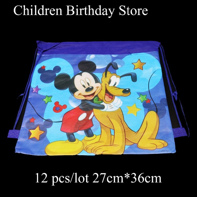 12pcs Lot Mickey Mouse Gift Bags Birthday Party Decorations Drawstring Minnie