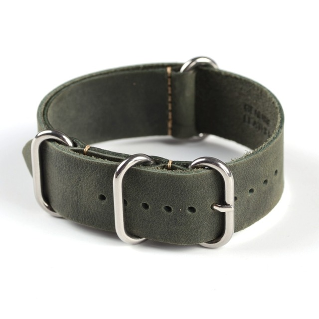 1PC Sales High Quality 18mm 20mm 22mm ZULU Leather Strap Watch band Crazy Horse Genuine Leahter Watchband With Different Colors
