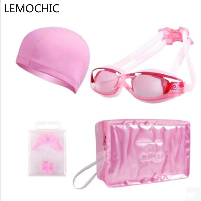 High quality Female HD waterproof anti fog goggles swimming cap swimming bag soft silicone Nose clip earplug Swimming suit