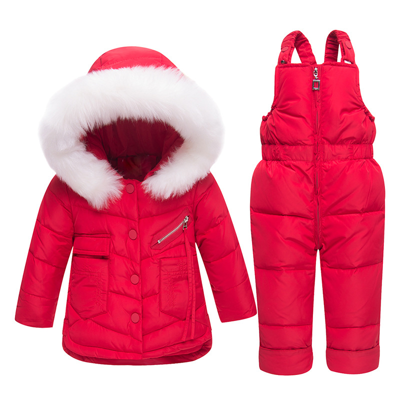 Winter Children's Clothing Sets Warm Baby Girl Boy Ski Suits Snowsuits Fur Girl's Down Jackets Outerwear Coat+suspender Jumpsuit цена 2017