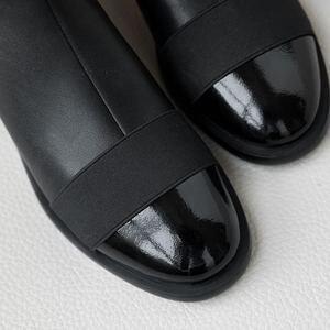 Image 5 - Allbitefo Thương Hiệu Thời Trang Da Thật Chính Hãng Da Thấp Gót Giày Bốt Nữ Phối Màu Cổ Chân Giày Cho Nữ Adies Giày Da Bò