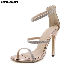 TINGHON  Women rhinestone sandals Buckle Strap High Heels crystal Sandals Summer shoes Fashion Thin Heels Chaussure Femme недорого