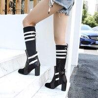 Prova Perfetto новые роскошные дизайнерские кожаные Стрейчевые сапоги женская модная обувь на высоком каблуке зимние сапоги до колена женские но