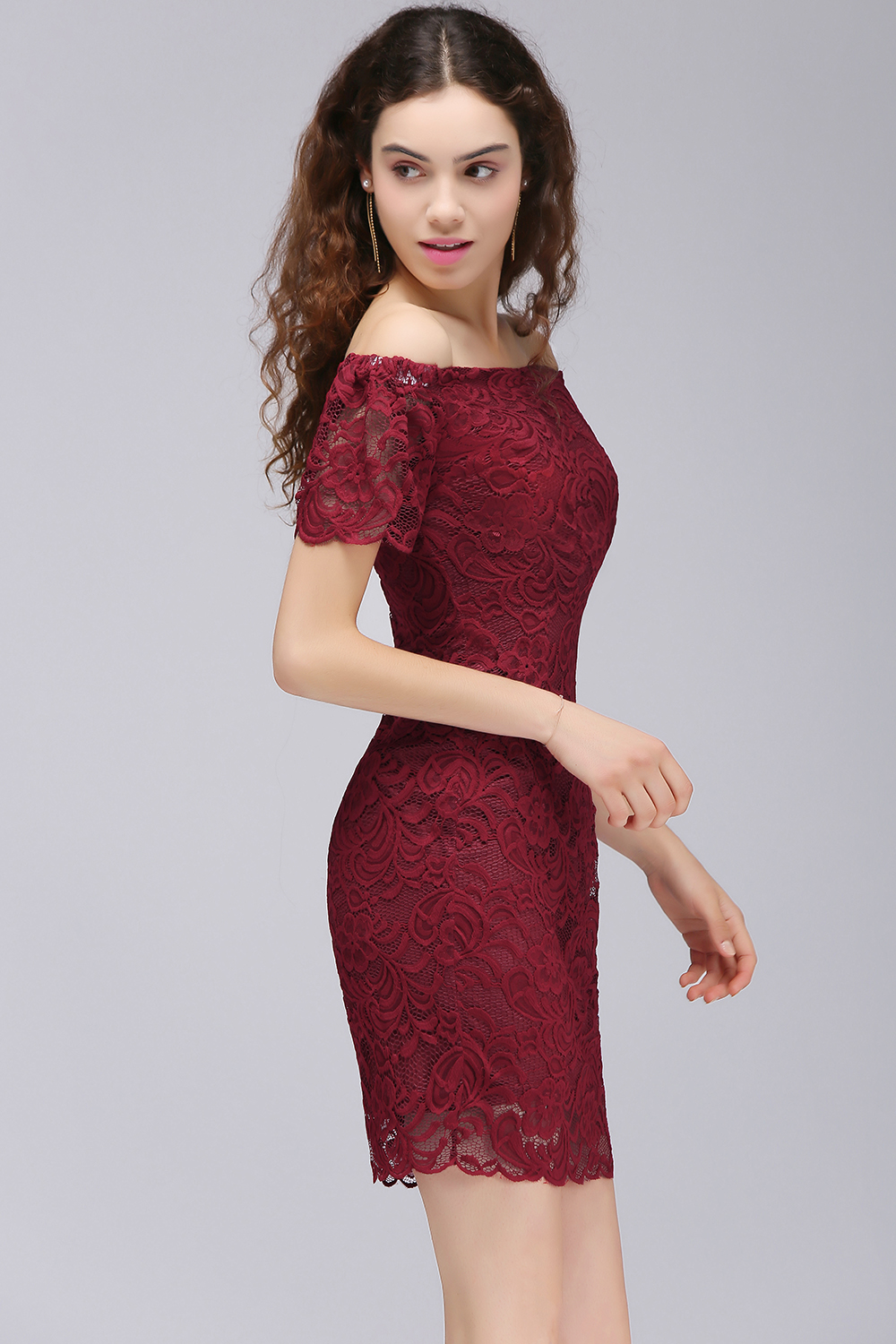 Off the Shoulder Short Homecoming Dress Burgundy