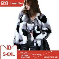 Plus Size S 6XL Women Mixed Color Faux Fur Coat Fluffy Winter Casual Fur Jacket Elegant Shaggy Ladies Short Outwear Coats 2018