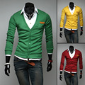 2016 New Mens Leather Pocket Knit Cardigan Men Sweater Explosion Free Shipping