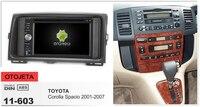 Рамка + android 6,0 dvd плеер автомобиля для toyota corolla spacio 2007 2001 аудио мультимедиа стерео радио магнитофон головных устройств