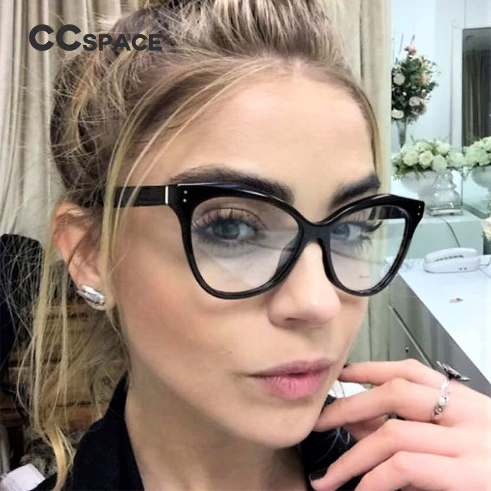 45288 Cat Eye Glasses Frames Women Rivet Brand Designer Lady Optical EyeGlasses Fashion Computer Glasses