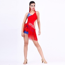 high-grade rhinestone sequined Latin dance costumes tango/rumba/sumba/chacha one piece dress