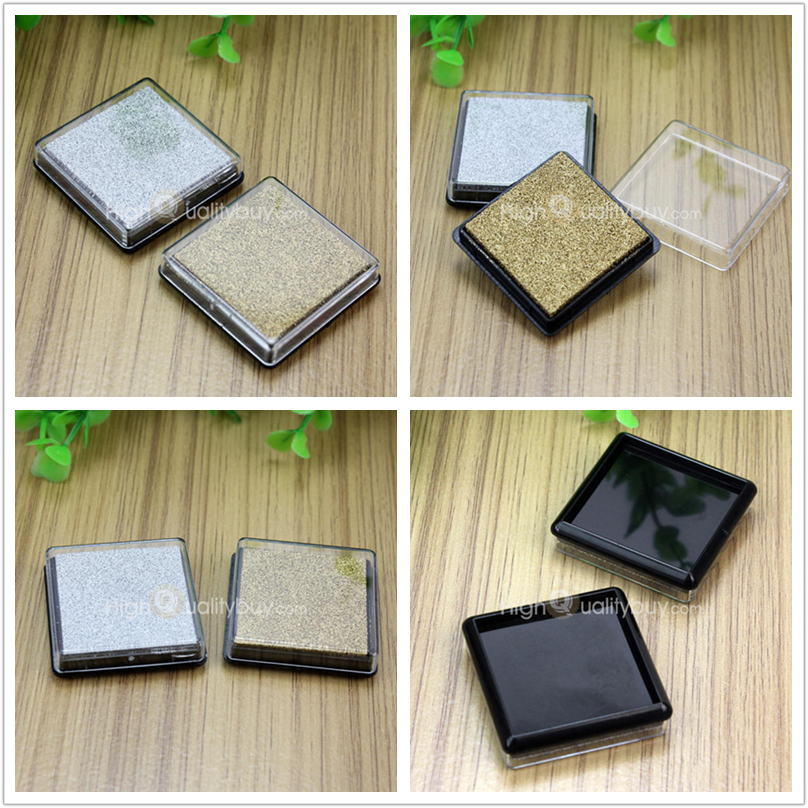 DIY 2x Mini Cube Inkpad Ink Pad Wedding Fingerprint Maker Sponge Craft Wood Fabric Scrapbook Paper Rubber Stamp Gift Gold Silver In Stamps From Home