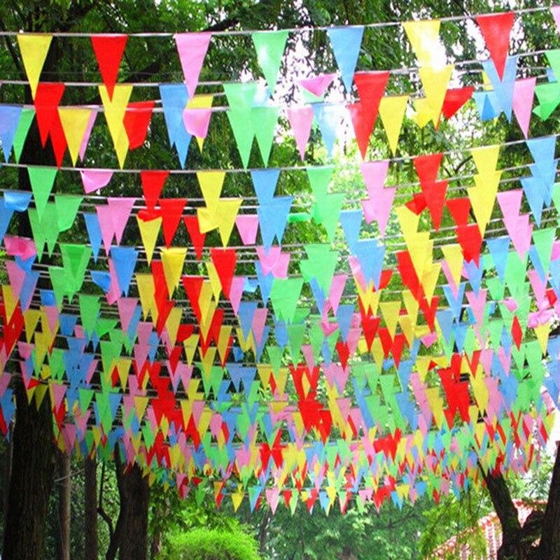 80 mt Farbige dreieckige Slik Fahnen und Banner Bunting Banner Flagge Girlande Party Dekoration Starten Business Decor