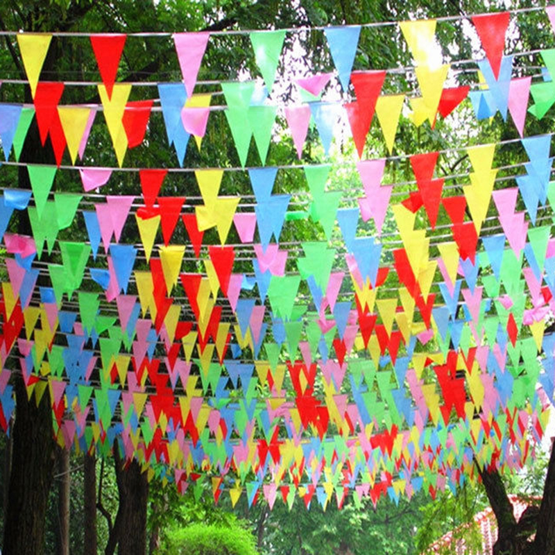 80m Coloured triangular Slik Flags and Banners Bunting Banner Flag Garland Party Decoration Start Business Decor