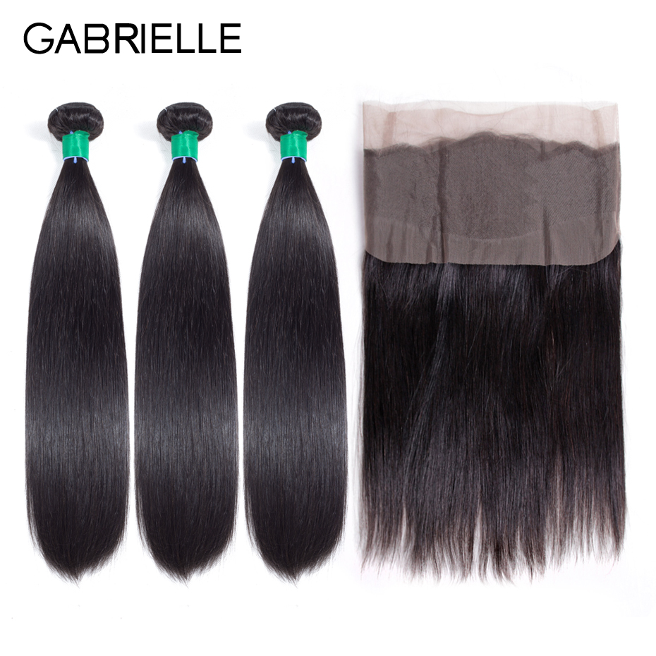 Gabrielle Peruvian Straight Hair Bundles with Frontal Non Remy Human Hair Weave 3 Bundles with 360 Lace Frontal Closure