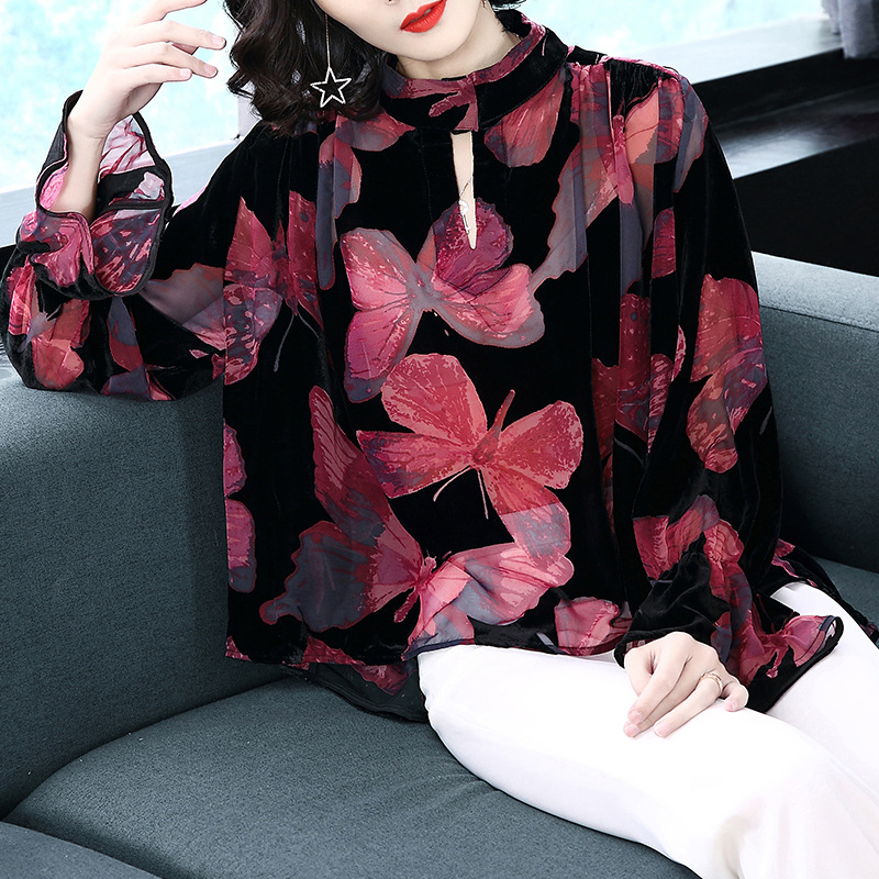 Brand 2018 Spring Women High Street Fashion Long Flare Sleeve Stand Collar Butterfly Printing Blouse Female Loose Casual Shirts
