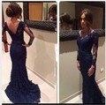 На заказ 2016 сшитое с длинным рукавом v-образным вырезом русалка платья знаменитостей элегантный синий шнурок сексуальная спинки платья выпускного вечера