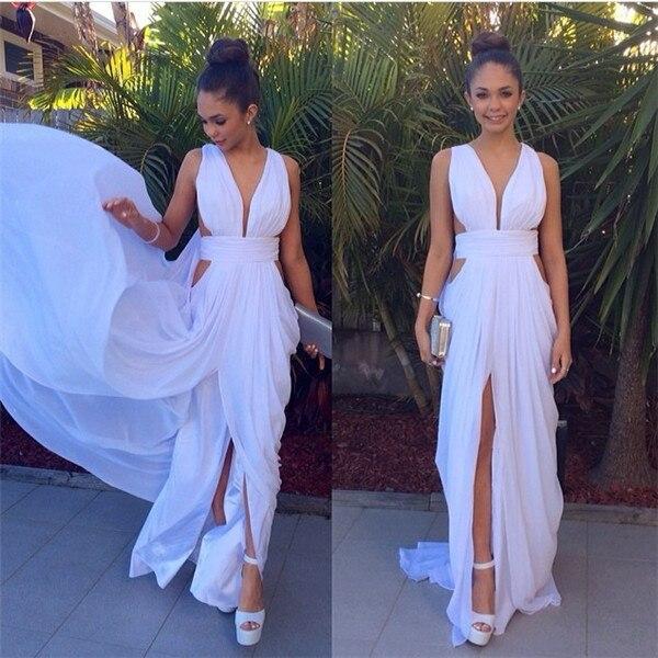 3ff2f6423b Sexy Largo Blanco Baile Vestidos Largos Para Adolescentes Barato Simple  Gasa Vestidos de Noche