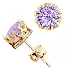 Gold Plated Crystal CZ Diamond Jewelry Crown Stud Earring