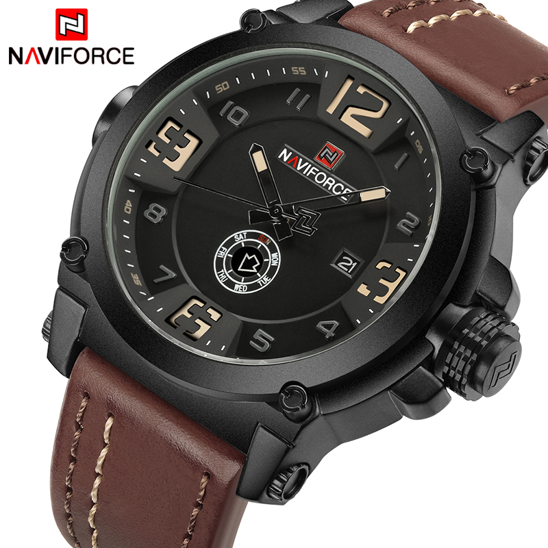 все цены на Mens Watches NAVIFORCE Top Luxury Brand Men Leather Watches Man Analog Quartz Clock Waterproof Sports Army Military Wrist Watch