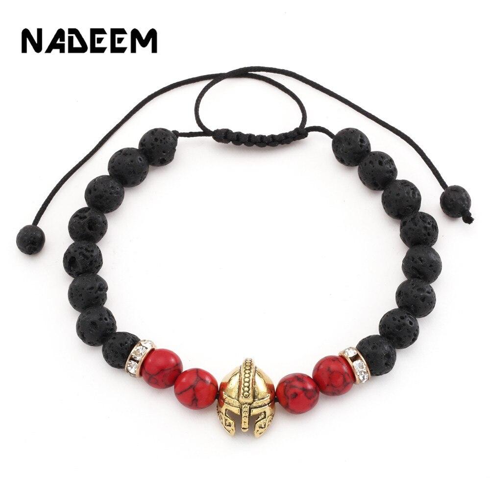 Knight Warrior Gladiator Helmet Charm Beads Bracelet For Women Men Natural Howlite Lava Stone Bead Adjustable Braiding Bracelets bead