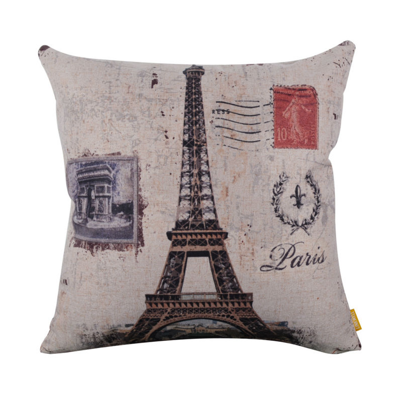 LINKWELL 45x45cm Retro Rusted French France Paris Eiffel Tower Cushion Cover Fleur De Lys pillow case home Trimphal Arch