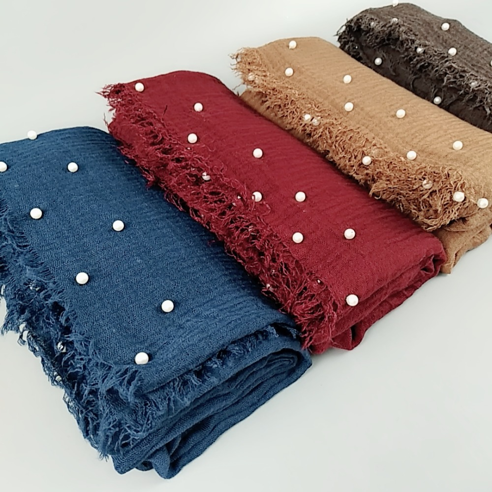 H31 High Quality Pearl Bubble Viscose Hijab Wrap Shawl Women Scarf Scarves Headband Can Choose Colors
