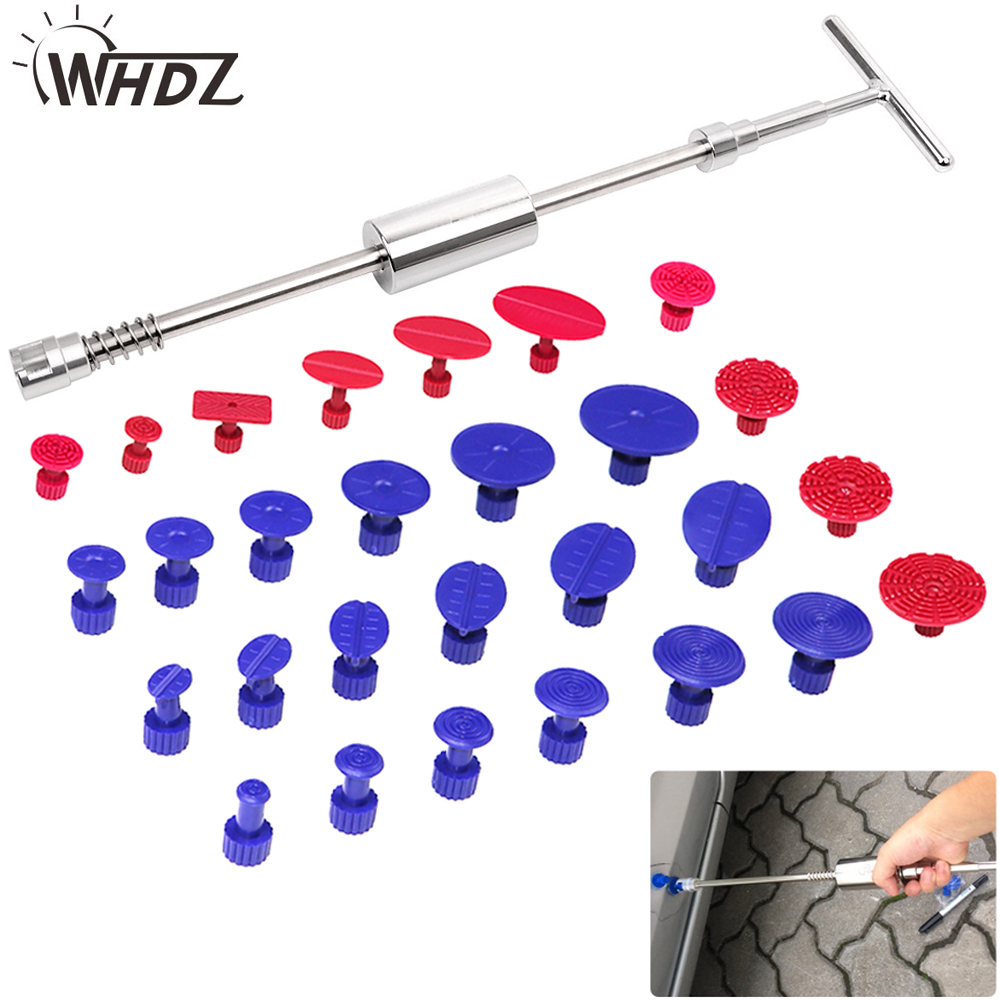 WHDZ PDR Auto Paintless Dent Repair Tools kit 29 pcs high quality slide hammer glue Tabs Dent removal Tools car repair tool kit цены