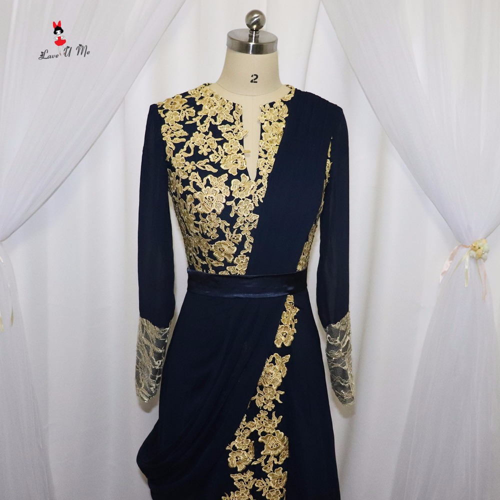 b0390e50fc5a9 Navy Blue Long Sleeve Arabic Muslim Evening Dresses Gold Indian Prom  Dresses 2017 Lace Formal Evening Gowns Vestidos de Festa
