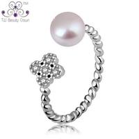 2017 Nowy Prawdziwe 925 Sterling Silver Śliczne Białe Naturalne Słodkowodne perły 4 Liść Koniczyny Kwiat Pierścień Dla Kobiet Dziewczyny Mody biżuteria