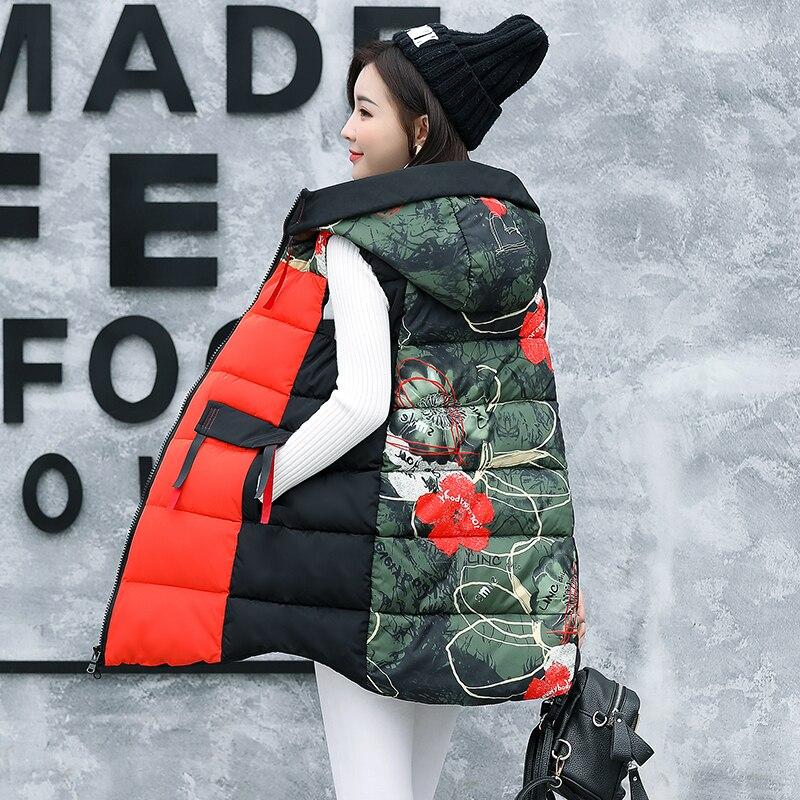 Brieuces 2020 Red High Quality Women Vests Winter Hooded Female Coats Zipper Cotton Long Jackets Slim Fashion Coat Plus Size 4XL